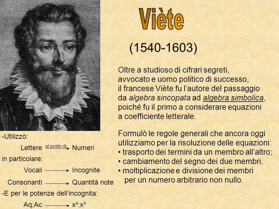 (1540-1603) Oltre a studioso di cifrari segreti, avvocato e uomo politico di successo, il francese Viète fu lautore del passaggio da algebra sincopata
