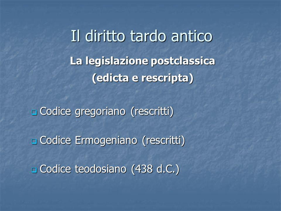 Il diritto tardo antico Codice gregoriano (rescritti) Codice gregoriano (rescritti) Codice Ermogeniano (rescritti) Codice Ermogeniano (rescritti) Codi