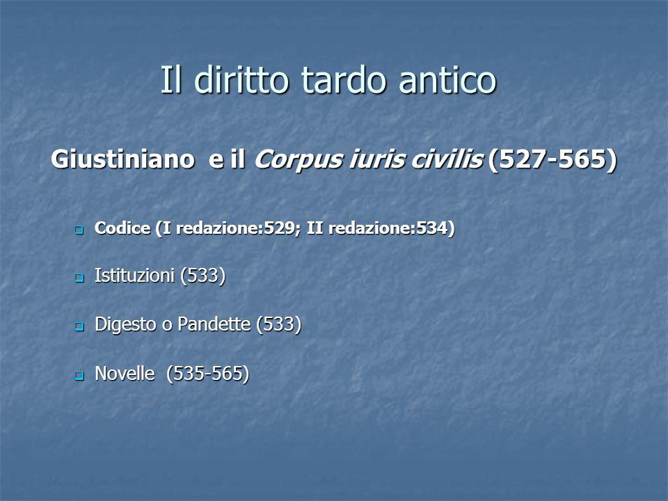 Il diritto tardo antico Codice (I redazione:529; II redazione:534) Codice (I redazione:529; II redazione:534) Istituzioni (533) Istituzioni (533) Dige