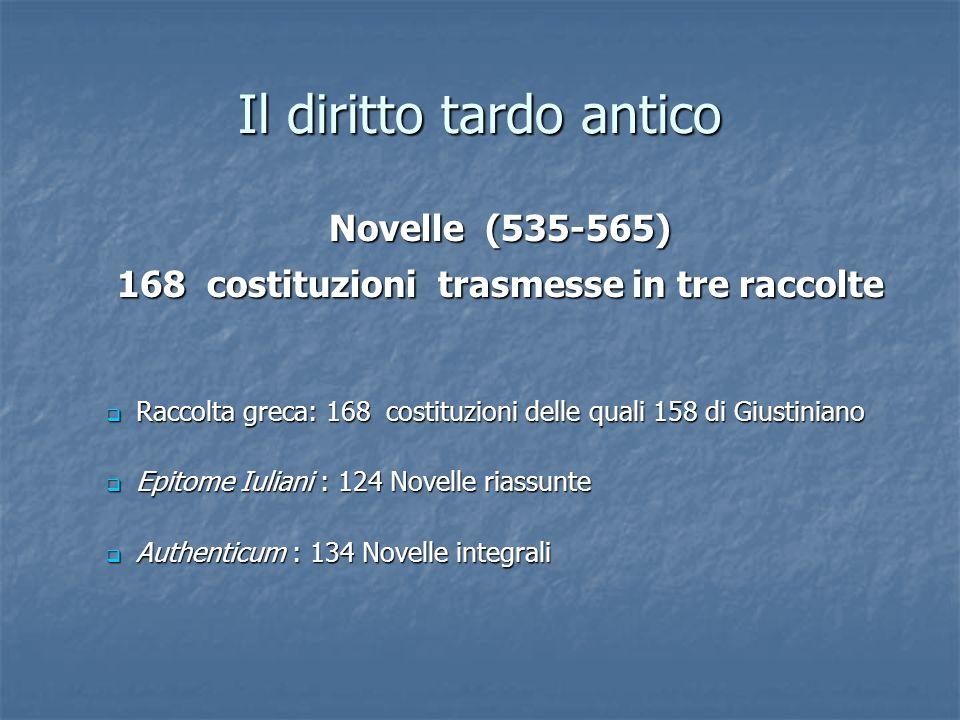 Il diritto tardo antico Raccolta greca: 168 costituzioni delle quali 158 di Giustiniano Raccolta greca: 168 costituzioni delle quali 158 di Giustinian