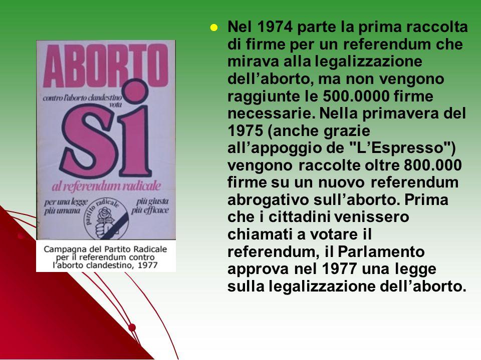 Nel 1974 parte la prima raccolta di firme per un referendum che mirava alla legalizzazione dellaborto, ma non vengono raggiunte le 500.0000 firme nece