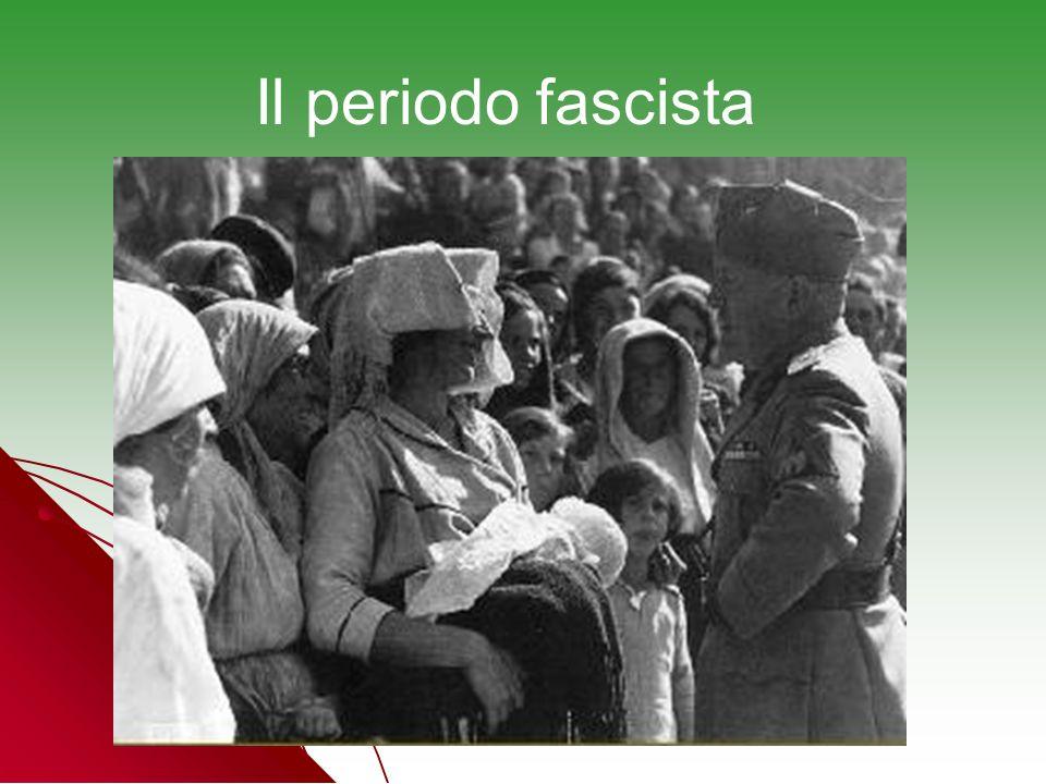 Durante il periodo fascista la donna venne spinta ancor più, per quanto possibile, entro le mura domestiche, secondo lo slogan: la maternità sta alla donna come la guerra sta alluomo.