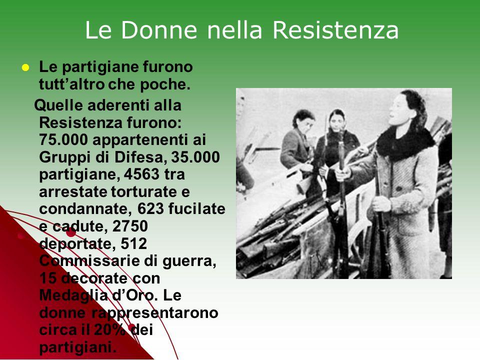 Le partigiane furono tuttaltro che poche. Quelle aderenti alla Resistenza furono: 75.000 appartenenti ai Gruppi di Difesa, 35.000 partigiane, 4563 tra