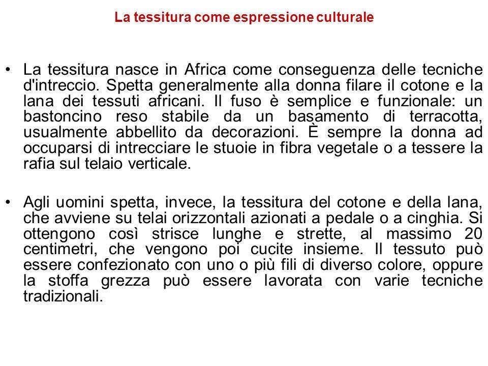 La tessitura come espressione culturale La tessitura nasce in Africa come conseguenza delle tecniche d'intreccio. Spetta generalmente alla donna filar