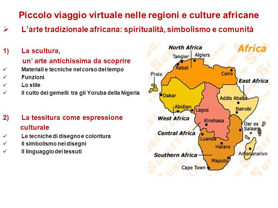 Piccolo viaggio virtuale nelle regioni e culture africane Larte tradizionale africana: spiritualità, simbolismo e comunità 1)La scultura, un arte anti