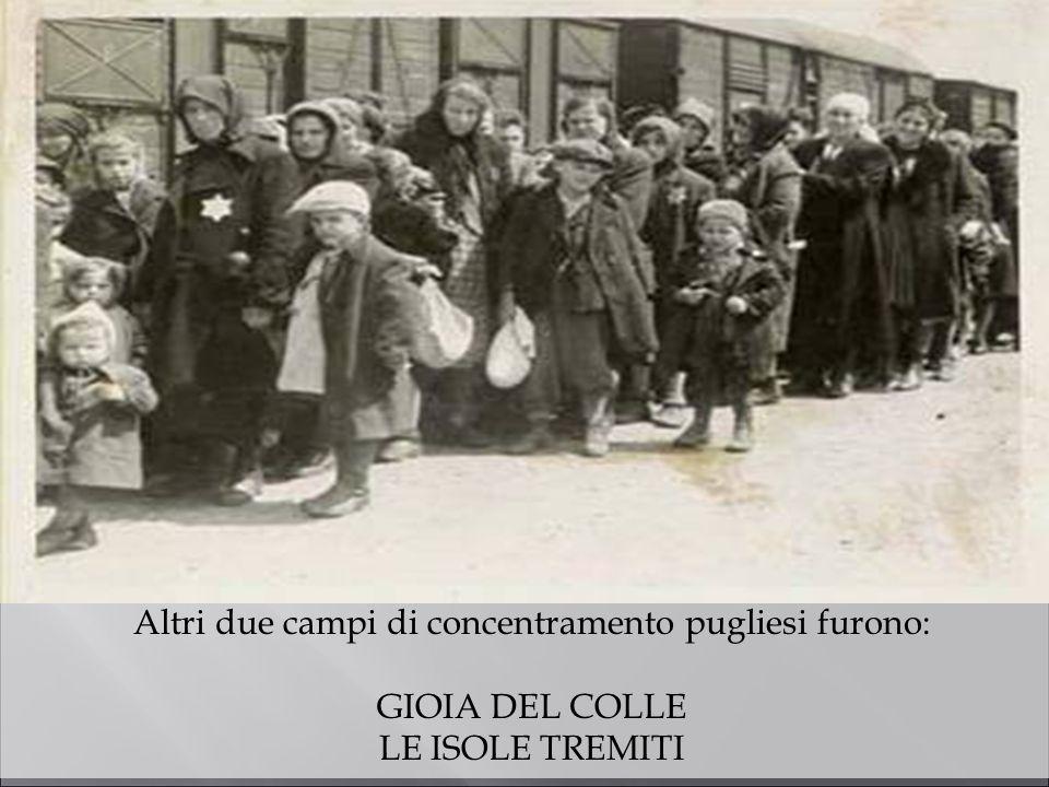 Altri due campi di concentramento pugliesi furono: GIOIA DEL COLLE LE ISOLE TREMITI