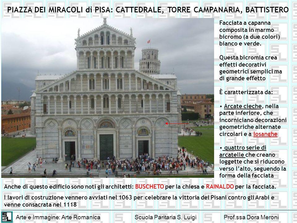 Arte e Immagine: Arte RomanicaScuola Paritaria S. LuigiProf.ssa Dora Meroni PIAZZA DEI MIRACOLI di PISA: CATTEDRALE, TORRE CAMPANARIA, BATTISTERO Facc