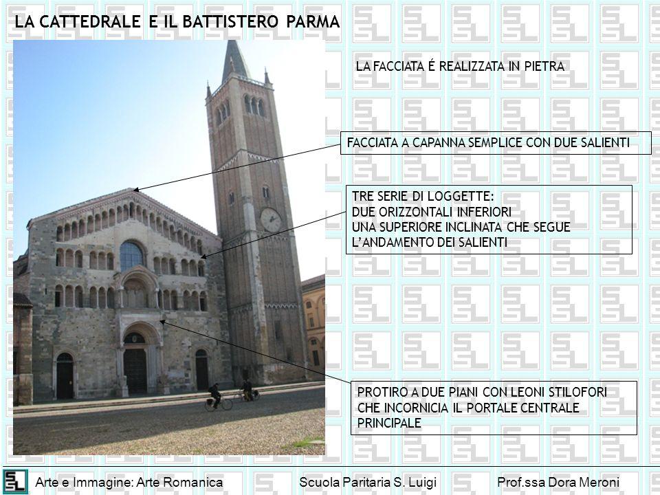 Arte e Immagine: Arte RomanicaScuola Paritaria S. LuigiProf.ssa Dora Meroni LA CATTEDRALE E IL BATTISTERO PARMA FACCIATA A CAPANNA SEMPLICE CON DUE SA