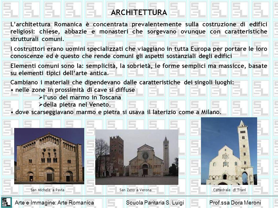 Arte e Immagine: Arte RomanicaScuola Paritaria S. LuigiProf.ssa Dora Meroni ARCHITETTURA Larchitettura Romanica è concentrata prevalentemente sulla co