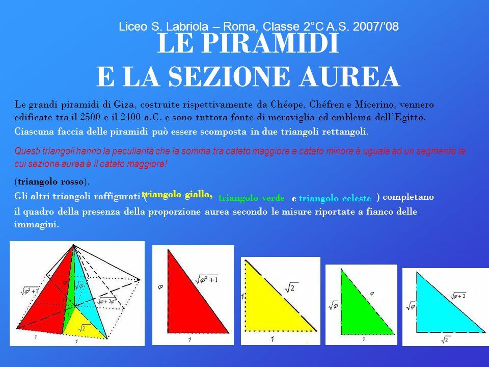 12 LE PIRAMIDI E LA SEZIONE AUREA Ciascuna faccia delle piramidi può essere scomposta in due triangoli rettangoli. Le grandi piramidi di Giza, costrui