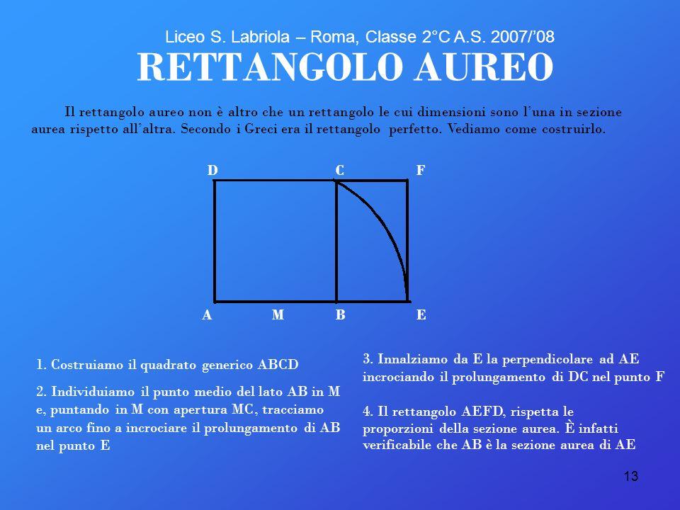 13 3. Innalziamo da E la perpendicolare ad AE incrociando il prolungamento di DC nel punto F RETTANGOLO AUREO 1. Costruiamo il quadrato generico ABCD