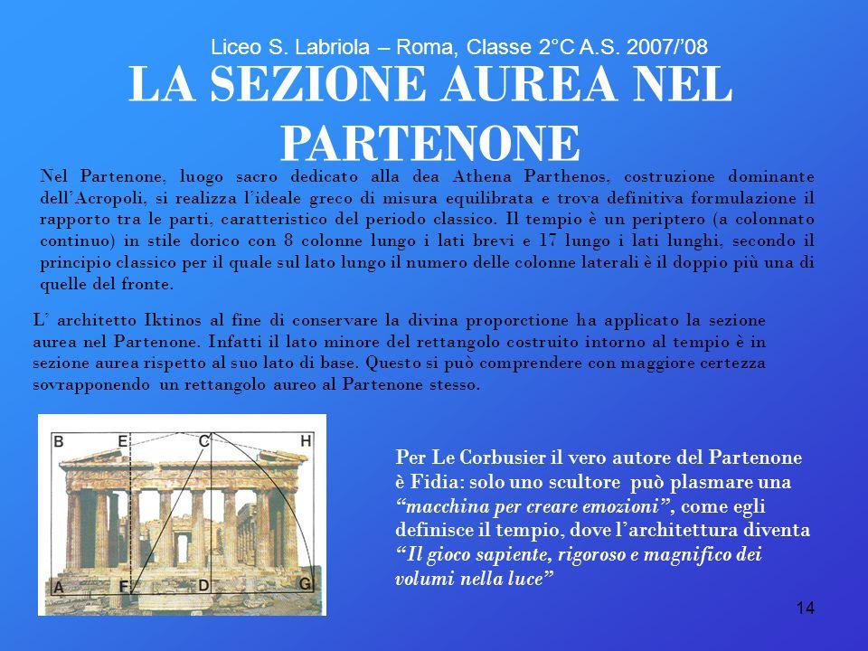 14 Nel Partenone, luogo sacro dedicato alla dea Athena Parthenos, costruzione dominante dellAcropoli, si realizza lideale greco di misura equilibrata