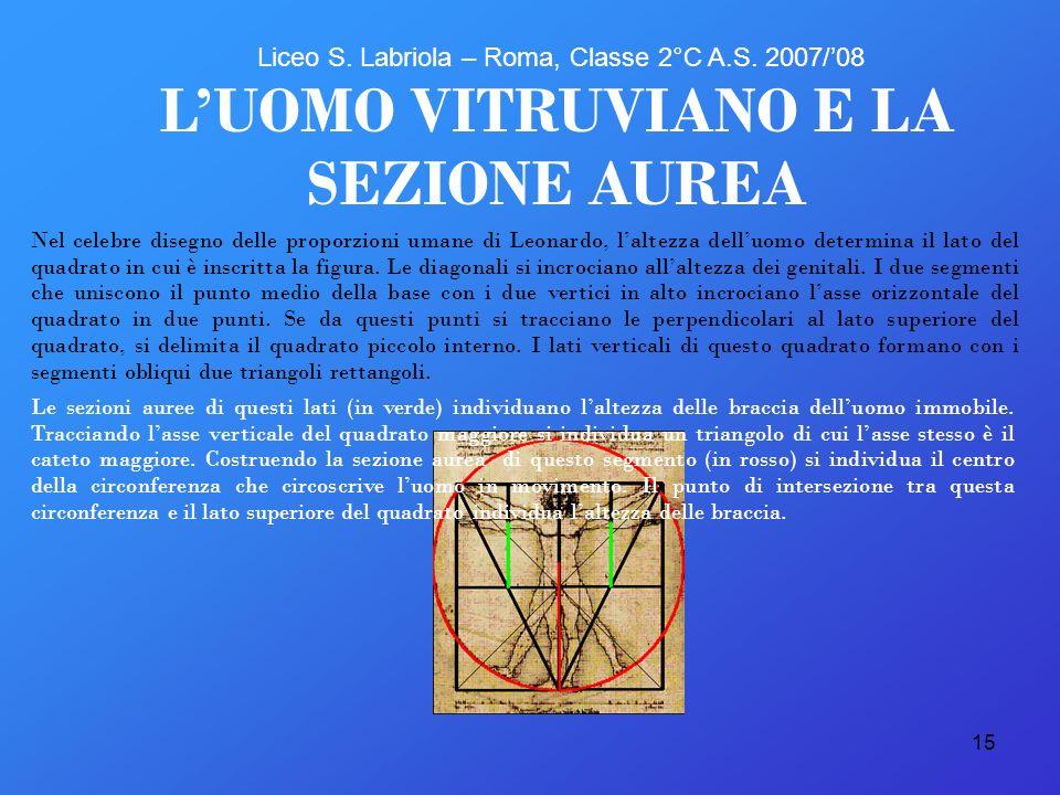 15 Nel celebre disegno delle proporzioni umane di Leonardo, laltezza delluomo determina il lato del quadrato in cui è inscritta la figura. Le diagonal
