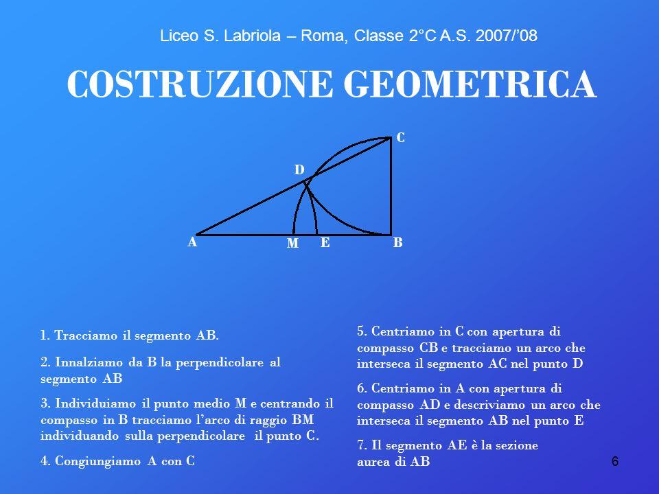 6 E COSTRUZIONE GEOMETRICA A B C D M 1. Tracciamo il segmento AB. 2. Innalziamo da B la perpendicolare al segmento AB 3. Individuiamo il punto medio M
