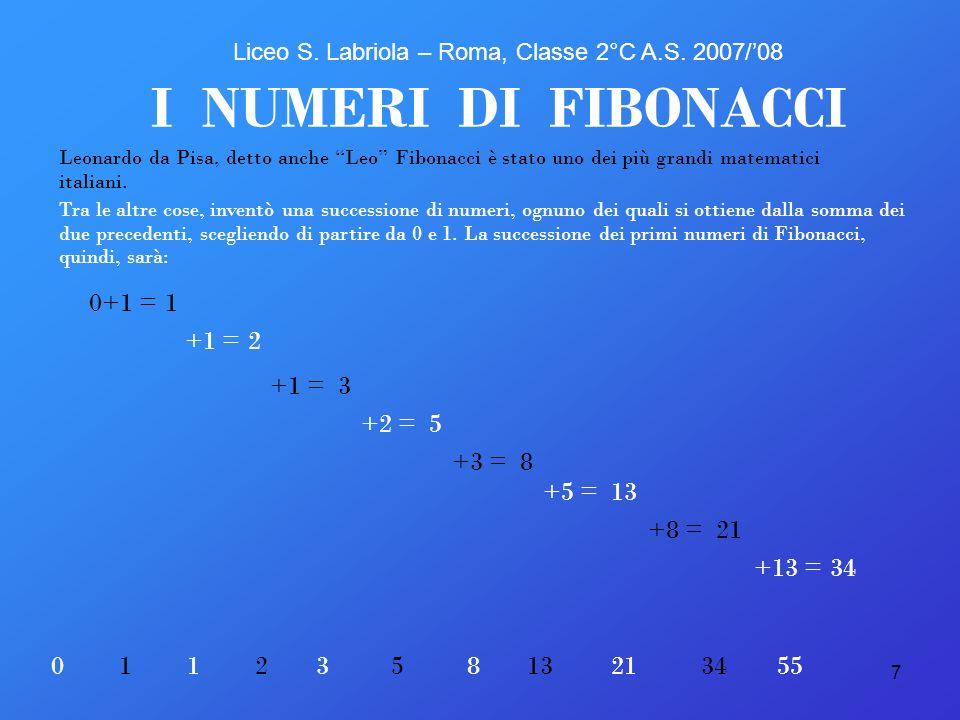 7 1 I NUMERI DI FIBONACCI Leonardo da Pisa, detto anche Leo Fibonacci è stato uno dei più grandi matematici italiani. 0+1 = +1 = +1 = +2 = +3 = +5 = +