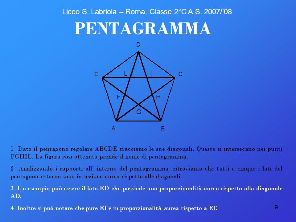 9 LI AB C D E G H PENTAGRAMMA 1 Dato il pentagono regolare ABCDE tracciamo le sue diagonali. Queste si intersecano nei punti FGHIL. La figura così ott