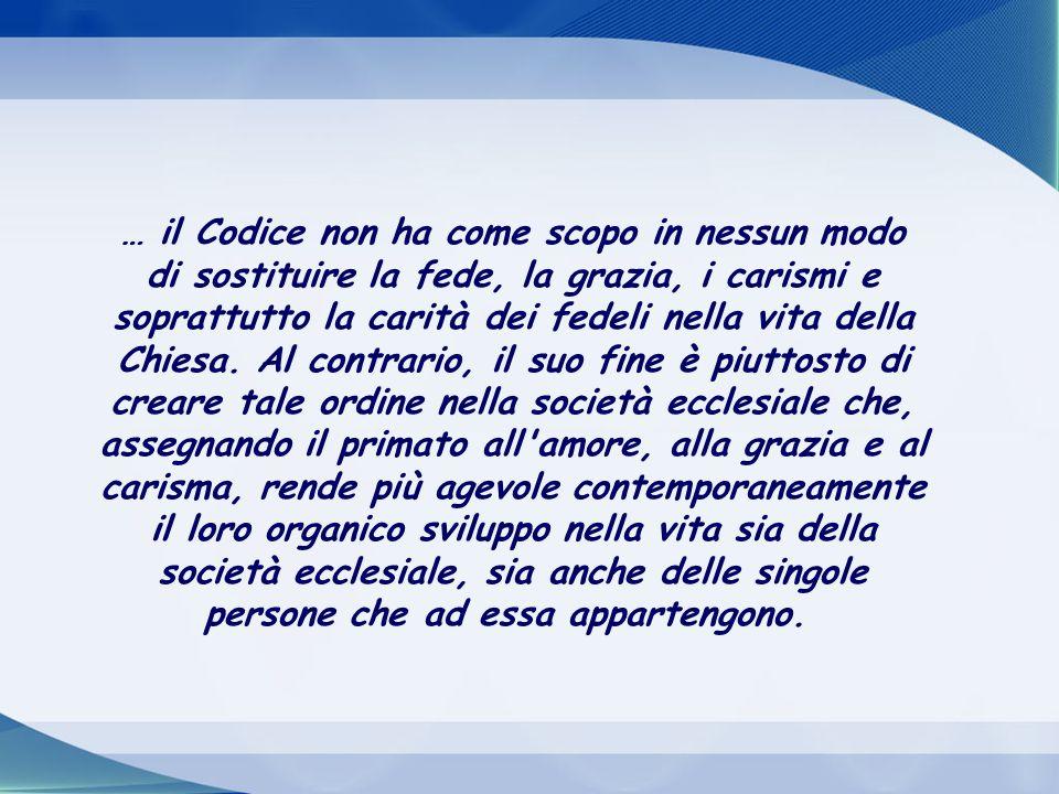 La comunione ha bisogno di regole per una crescita ordinata. Scrive Giovanni Paolo II nella Costituzione Apostolica Sacrae disciplinæ leges, per la pr