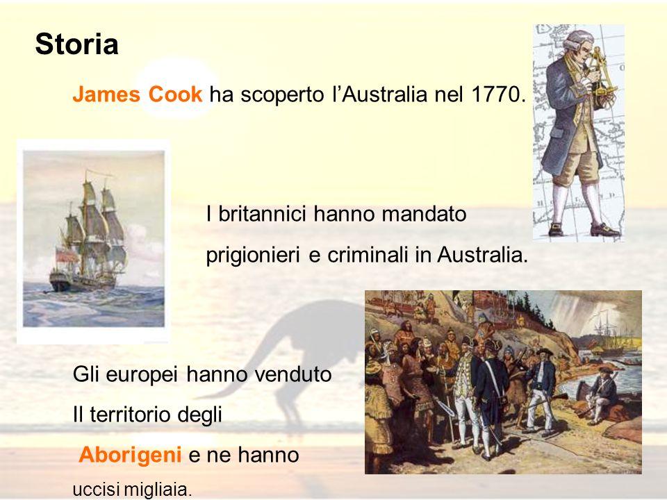 James Cook ha scoperto lAustralia nel 1770. I britannici hanno mandato prigionieri e criminali in Australia. Gli europei hanno venduto Il territorio d