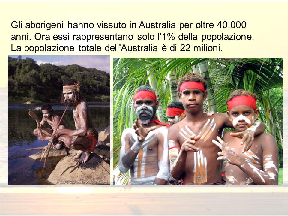 Gli aborigeni hanno vissuto in Australia per oltre 40.000 anni. Ora essi rappresentano solo l'1% della popolazione. La popolazione totale dell'Austral