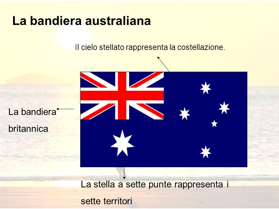 La bandiera australiana La bandiera britannica La stella a sette punte rappresenta i sette territori Il cielo stellato rappresenta la costellazione.