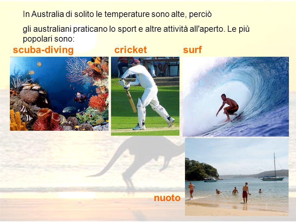 In Australia di solito le temperature sono alte, perciò gli australiani praticano lo sport e altre attività all'aperto. Le più popolari sono: surf nuo