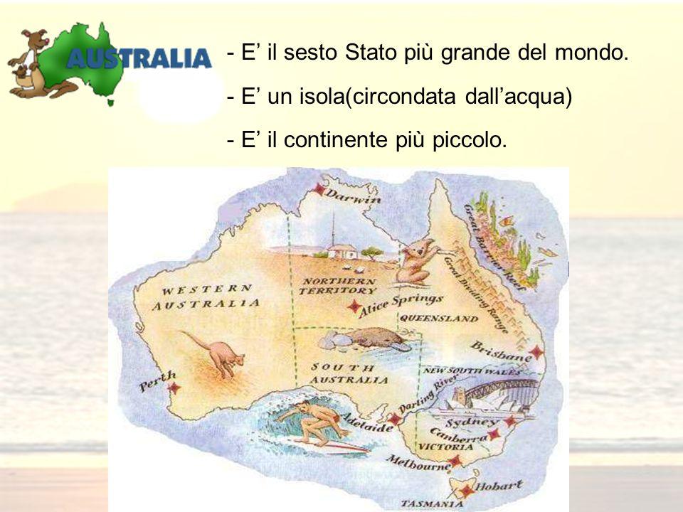 - E il sesto Stato più grande del mondo. - E un isola(circondata dallacqua) - E il continente più piccolo.