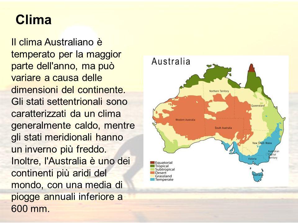Il clima Australiano è temperato per la maggior parte dell'anno, ma può variare a causa delle dimensioni del continente. Gli stati settentrionali sono