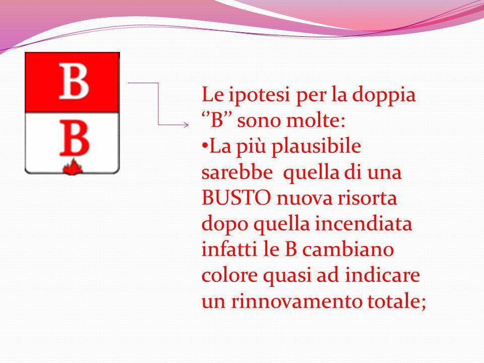 Le ipotesi per la doppia B sono molte: La più plausibile sarebbe quella di una BUSTO nuova risorta dopo quella incendiata infatti le B cambiano colore