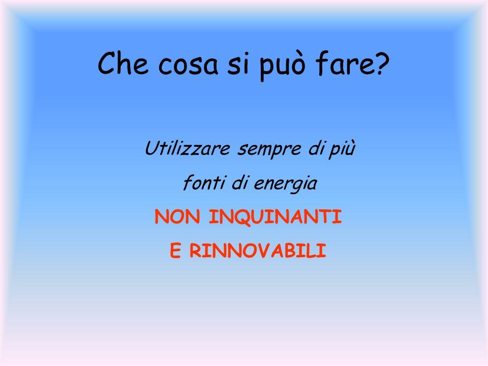 Che cosa si può fare? Utilizzare sempre di più fonti di energia NON INQUINANTI E RINNOVABILI