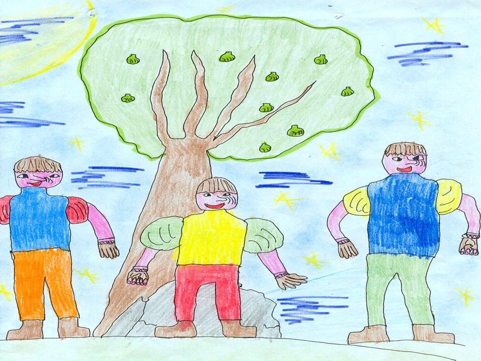 Sotto un albero di fichi sognan doni che li rendan felici: un mantello, un fiasco di vino ed una borsa piena doro zecchino