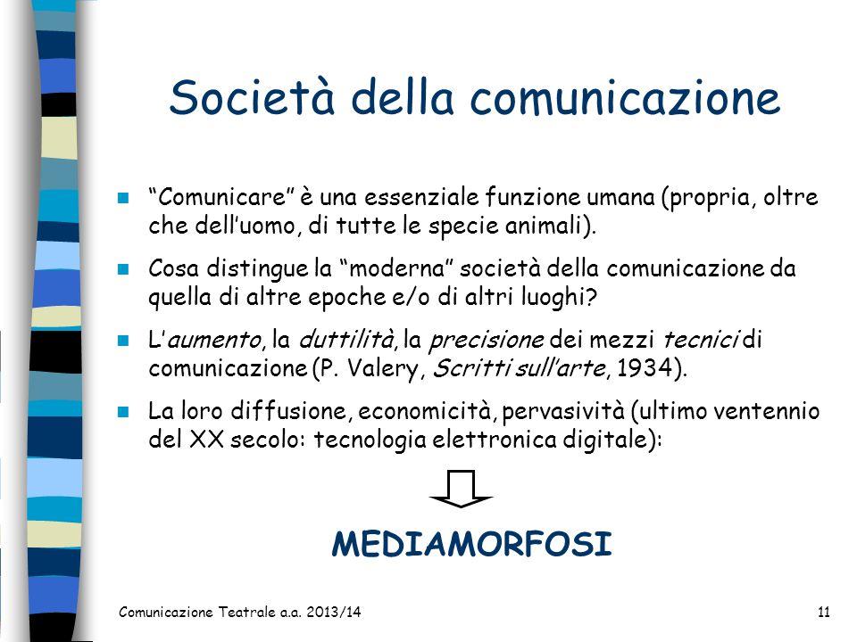 Comunicazione Teatrale a.a. 2013/1411 Società della comunicazione Comunicare è una essenziale funzione umana (propria, oltre che delluomo, di tutte le