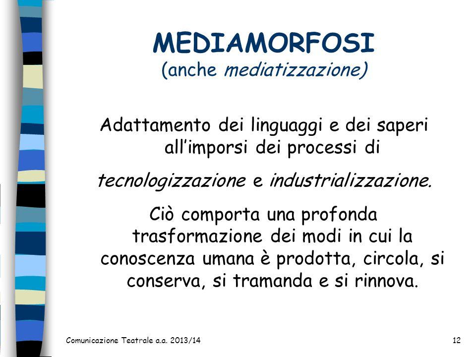 Comunicazione Teatrale a.a. 2013/1412 MEDIAMORFOSI (anche mediatizzazione) Adattamento dei linguaggi e dei saperi allimporsi dei processi di tecnologi