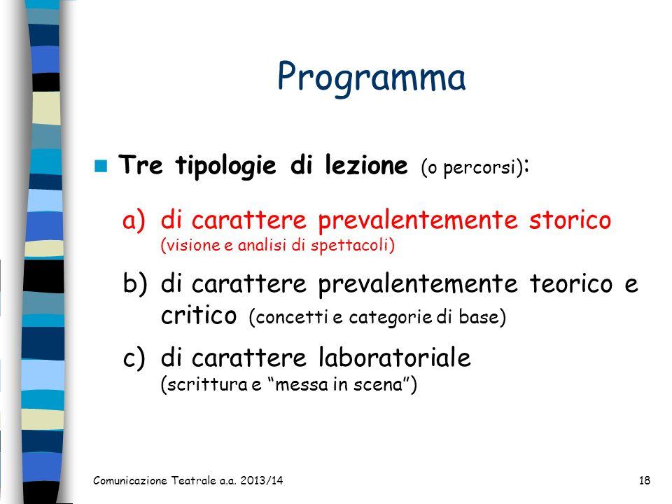 Programma Tre tipologie di lezione (o percorsi) : a)di carattere prevalentemente storico (visione e analisi di spettacoli) b)di carattere prevalenteme