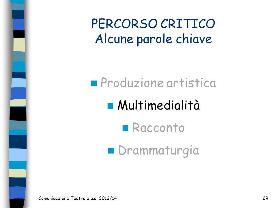 PERCORSO CRITICO Alcune parole chiave Produzione artistica Multimedialità Racconto Drammaturgia Comunicazione Teatrale a.a. 2013/1429