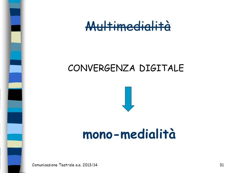 Multimedialità Comunicazione Teatrale a.a. 2013/1431 CONVERGENZA DIGITALE mono-medialità