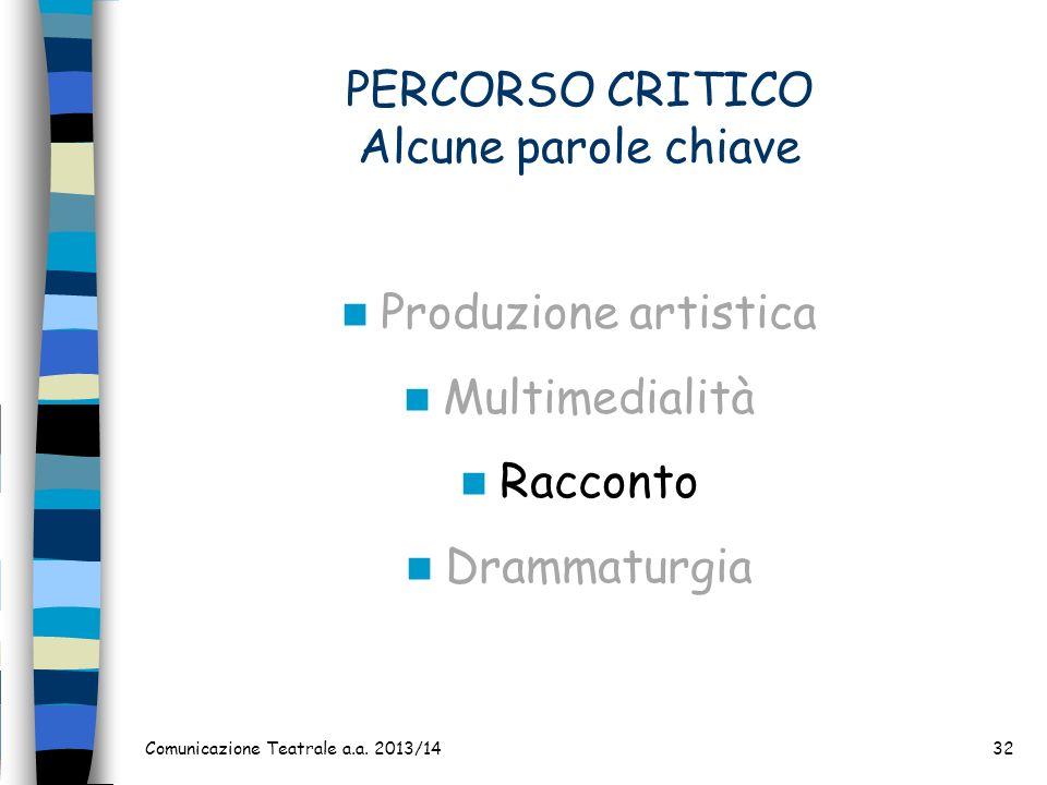 PERCORSO CRITICO Alcune parole chiave Produzione artistica Multimedialità Racconto Drammaturgia Comunicazione Teatrale a.a. 2013/1432