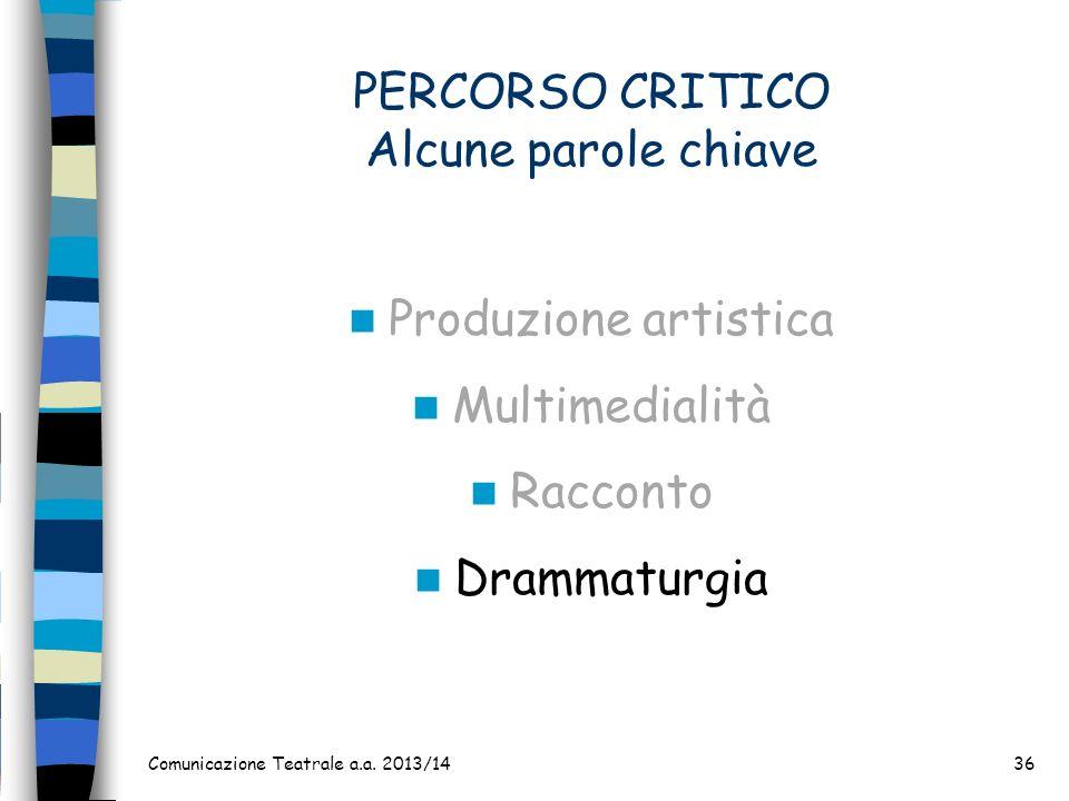 PERCORSO CRITICO Alcune parole chiave Produzione artistica Multimedialità Racconto Drammaturgia Comunicazione Teatrale a.a. 2013/1436