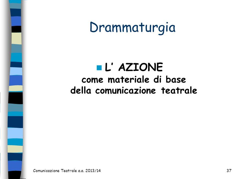 Comunicazione Teatrale a.a. 2013/1437 Drammaturgia L AZIONE come materiale di base della comunicazione teatrale