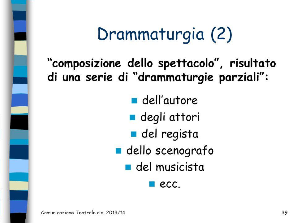 Drammaturgia (2) dellautore degli attori del regista dello scenografo del musicista ecc. Comunicazione Teatrale a.a. 2013/1439 composizione dello spet