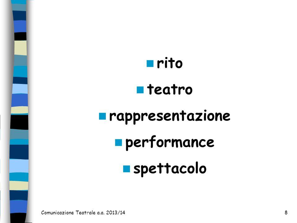 rito teatro rappresentazione performance spettacolo Comunicazione Teatrale a.a. 2013/148