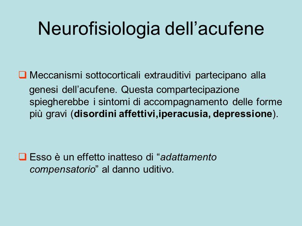 Neurofisiologia dellacufene Meccanismi sottocorticali extrauditivi partecipano alla genesi dellacufene.