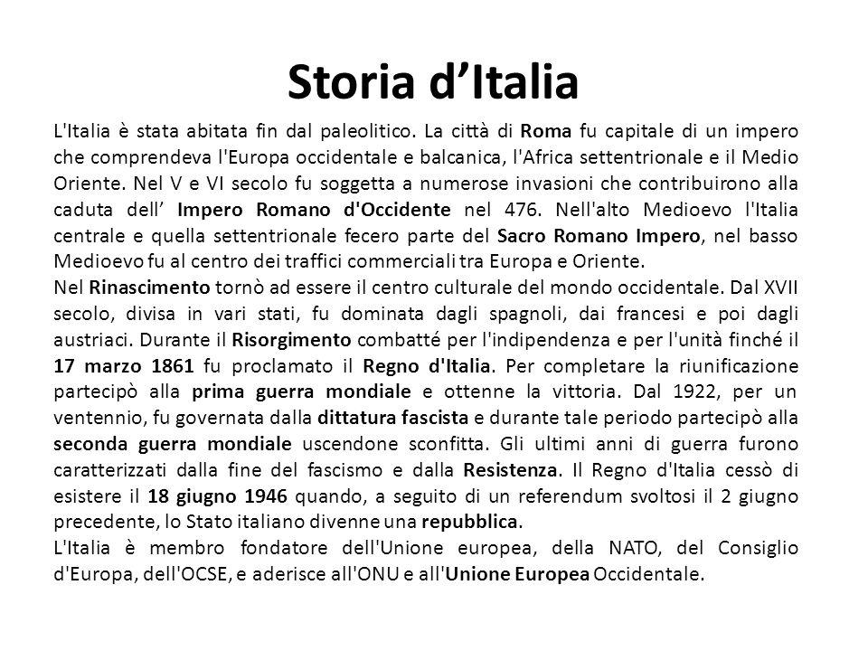 Storia dItalia L'Italia è stata abitata fin dal paleolitico. La città di Roma fu capitale di un impero che comprendeva l'Europa occidentale e balcanic