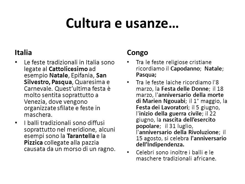 Cultura e usanze… Italia Le feste tradizionali in Italia sono legate al Cattolicesimo ad esempio Natale, Epifania, San Silvestro, Pasqua, Quaresima e