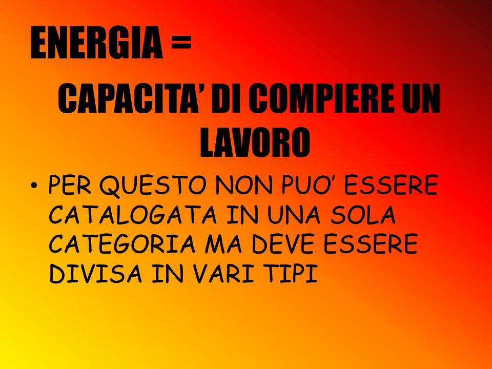 ENERGIA = CAPACITA DI COMPIERE UN LAVORO PER QUESTO NON PUO ESSERE CATALOGATA IN UNA SOLA CATEGORIA MA DEVE ESSERE DIVISA IN VARI TIPI