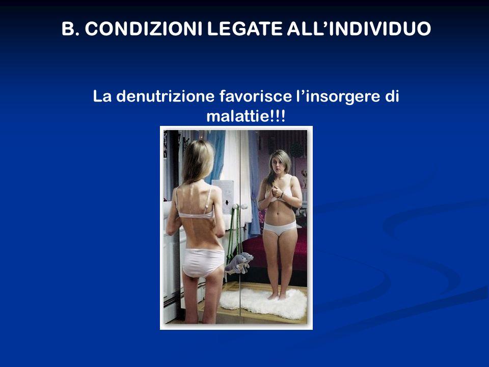 B. CONDIZIONI LEGATE ALLINDIVIDUO La denutrizione favorisce linsorgere di malattie!!!
