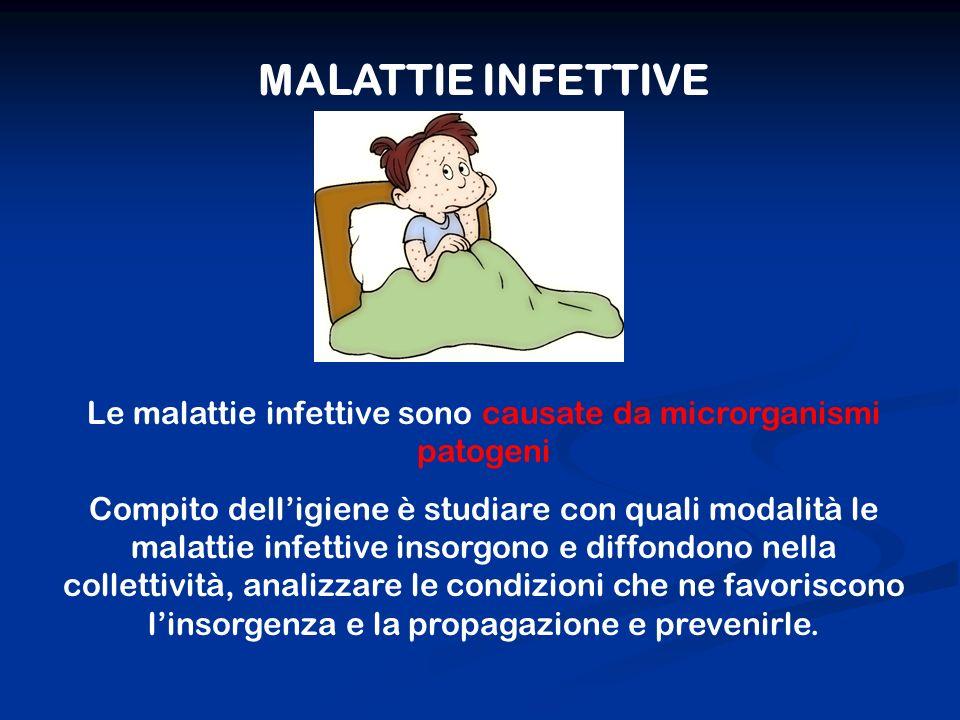 MALATTIE INFETTIVE Le malattie infettive sono causate da microrganismi patogeni Compito delligiene è studiare con quali modalità le malattie infettive