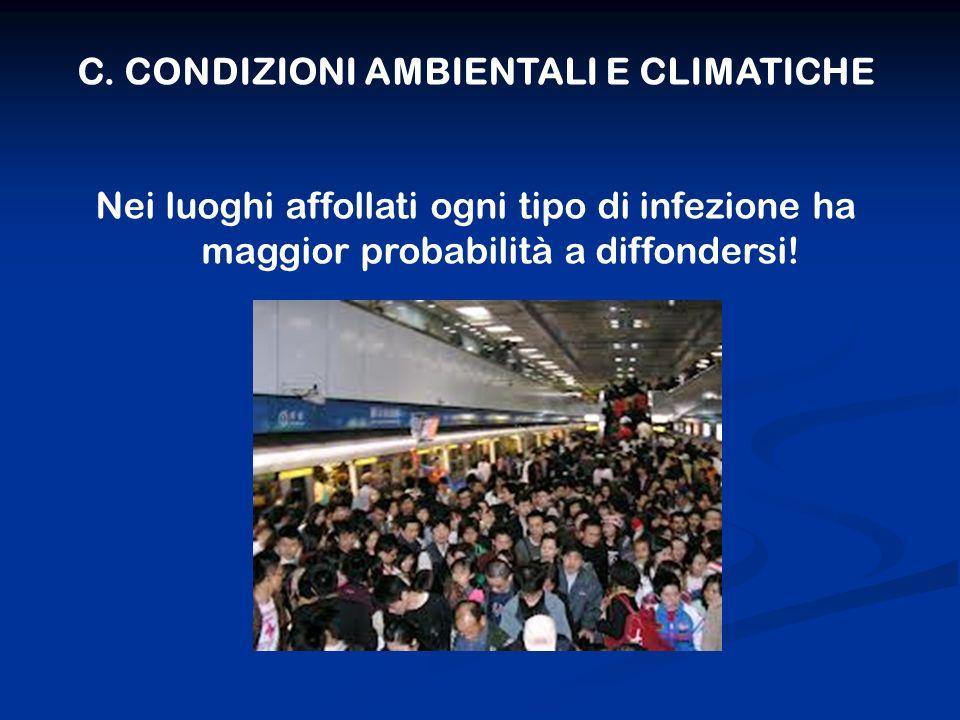 C. CONDIZIONI AMBIENTALI E CLIMATICHE Nei luoghi affollati ogni tipo di infezione ha maggior probabilità a diffondersi!