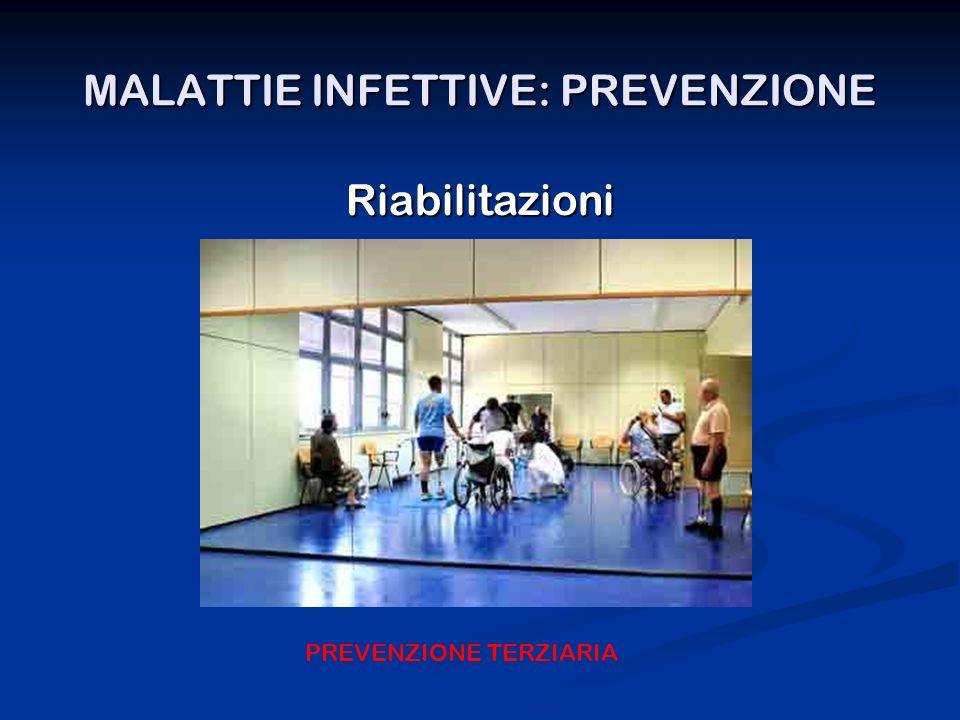 MALATTIE INFETTIVE: PREVENZIONE Riabilitazioni PREVENZIONE TERZIARIA