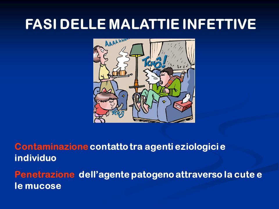 FASI DELLE MALATTIE INFETTIVE Contaminazione contatto tra agenti eziologici e individuo Penetrazione dellagente patogeno attraverso la cute e le mucos