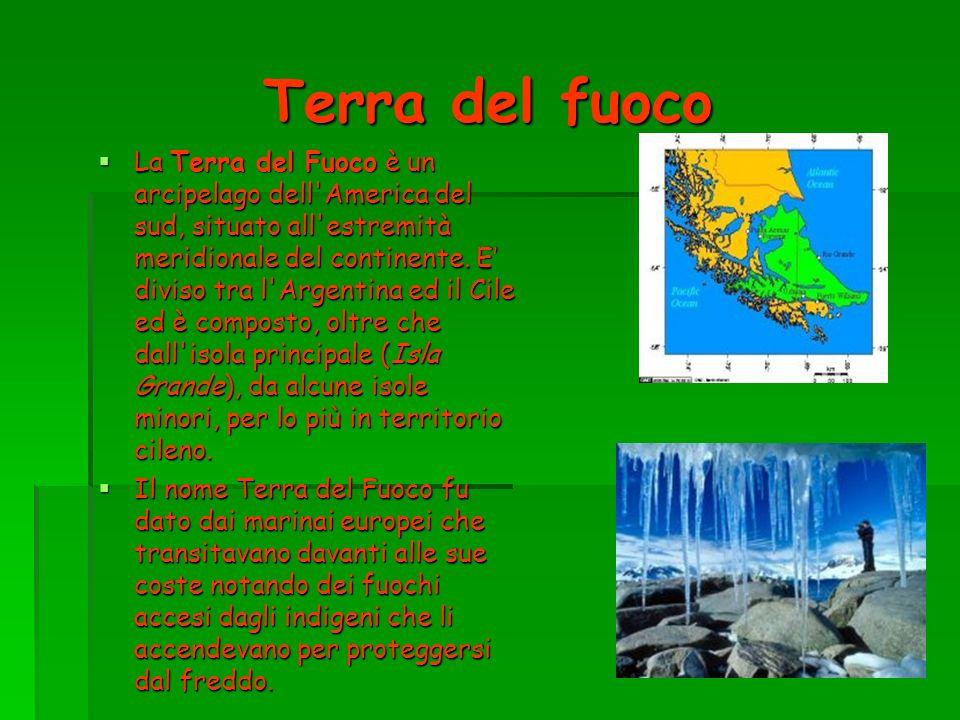 Terra del fuoco La Terra del Fuoco è un arcipelago dell'America del sud, situato all'estremità meridionale del continente. E diviso tra l'Argentina ed